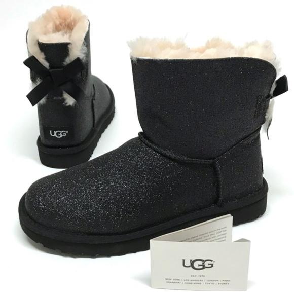 2f42df9c4ee UGG Mini Bailey BOW SPARKLE Boots BLACK 11 NIB NWT